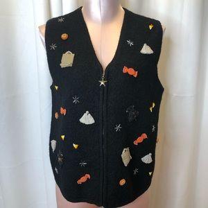 Vintage Talbots Halloween Themed Wool Vest UGLY